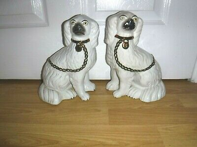 """Antique Pair Staffordshire Dogs ~ Separate Legs ~ 9.5"""" ~ Copper Lustre Chains"""
