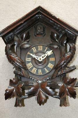 LARGE ANTIQUE CUCKOO CLOCK beautiful carved mahogany surround SOME RESTORATION