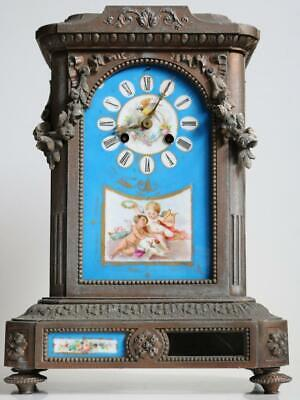 ANTIQUE FRENCH MANTEL CLOCK by VINCENTI sevres style porcelain panels RESTORE