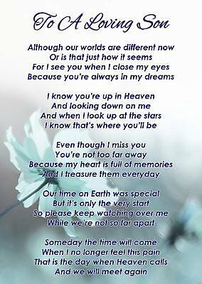 To A Loving Son Memorial Funeral Graveside Poem Card & Free Ground Stake F341