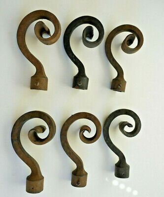 Vintage 6 Cast Iron Wrought Iron Fence Post Finial Curly-Q