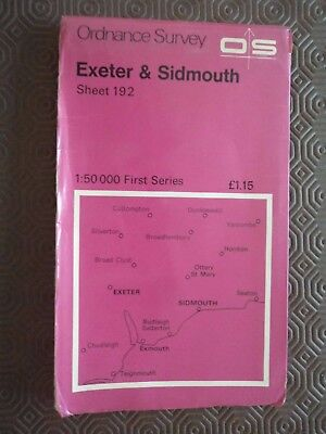 Ordnance Survey 1 50:000 map 192 Exeter 1974 Sidmouth Honiton Teignmouth Ottery