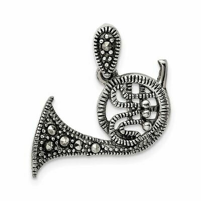 925 Sterling Silver Antiqued Marcasite Swan Charm Pendant