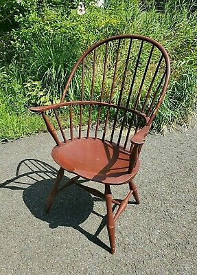 D R Dimes BOW sack BACK WINDSOR arm chair { In hard to find RED oxblood paint }