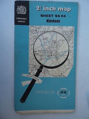 Rare Ordnance Survey Map SS94 Minehead 1963 Dunster Timberscombe Luccombe