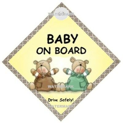 BABY ON BOARD - 2 Teddy Bears - MADE IN AUSTRALIA - Suction Cup - FREEPOST