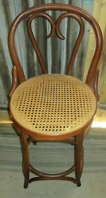 VTG Thonet Radomsko Bentwood BARSTOOL Romania cane wood heart 2 AVAILABLE