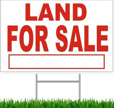 """Land For Sale Large Outdoor 24""""x18"""" Land Yard Sign With Wire Stake street"""