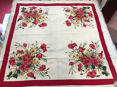 """1940's NOS Paper Tag Aristex Artistic """"Poppy"""" Printed Cotton Tablecloth 51"""""""