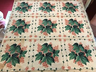 """1940's Unused Green Ivy Salmon Pink Flowers Printed Cotton Tablecloth 49"""""""