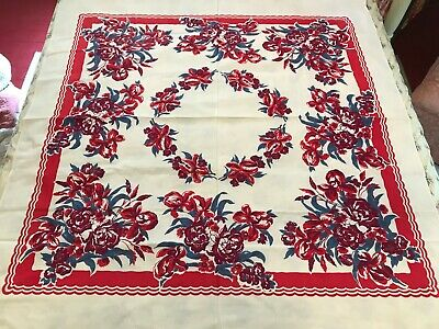 """1940's Unused Red Blue Wine Flowers Printed Cotton Tablecloth 48""""x 50"""""""