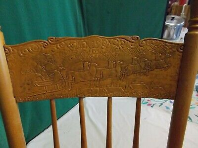 🎅 AMERICAN 🎄 CHILDs Rocking Chair ⛄ Santa in Sleigh w/Deer Delivering Gifts 🎅