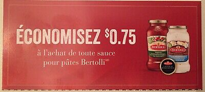 Lot of 20 x 0.75$ Bertolli Products Coupons Canada