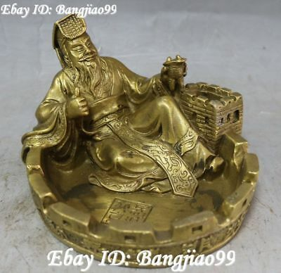 Marked China Pure Bronze Ancient Qing Shihuang King Changcheng Ashtray Pen Wash