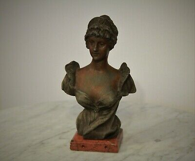 French Antique Bronzed Spelter Bust Figurine on Marble Base by P. Rigual