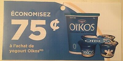 Lot of 20 x 0.75$ Yogourt OIKOS Products Coupons Canada