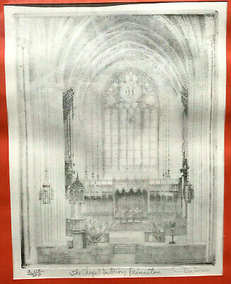 c.1950s DON SWANN Etching PRINCETON UNIVERSITY CHAPEL Numbered Limited Edition