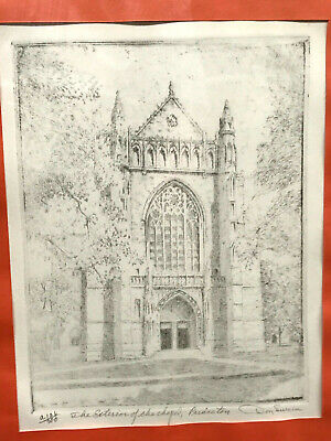 c.1950s DON SWANN Etching PRINCETON UNIVERSITY CHAPEL Numbered Limited Edition X