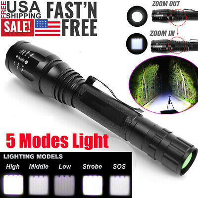 Tactical Police 990000Lumens T6 LED 5-Modes 18650 Super Bright Flashlight Torch