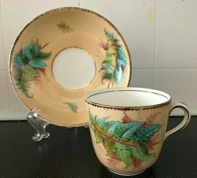 Late Victorian Tea Cup and Saucer FERN PATTERN