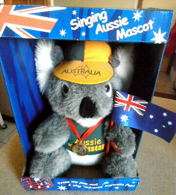 AUSSIE KOALA WITH MEDAL& FLAG LARGE SINGING MASCOT - ADVANCE AUSTRALIA FAIR 33cm