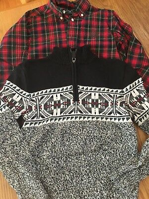 Chaps plaid button up shirt and sweater set boys size 7