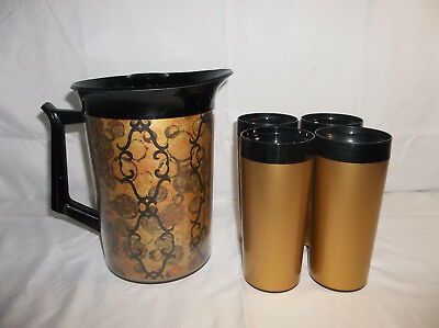 West Bend Thermo-Serv Black & Gold 55 oz Insulated Pitcher and 4 Tumblers