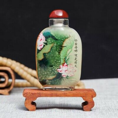 Inner Painting Snuff Bottle Antique Delicate Handiwork Lotus and Sunflower