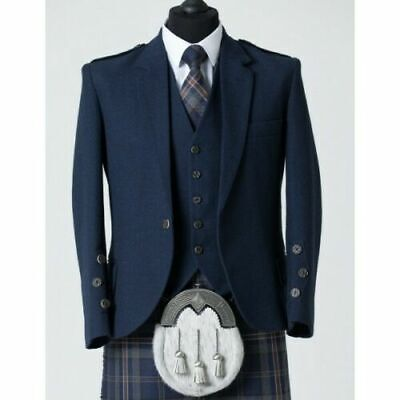 Men's Blue Tweed Scottish Kilt Jacket with Waistcoat