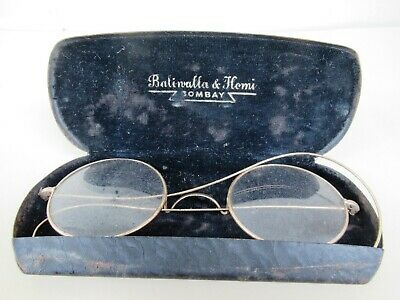 Antique Eyeglasses Metal Golden Color Round Frames Black Case Spectacles 1910 *F