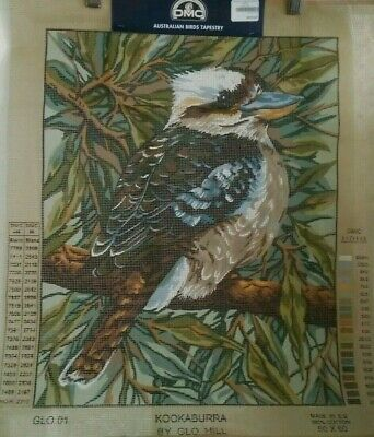 Tapestry Canvas unused DMC by Glo Hill Kookaburra 50x60cm Australian Birds VGC