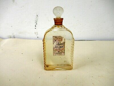 Antique Perfume Bottle Glass Colgate Made In France With Original Label Rare*F3