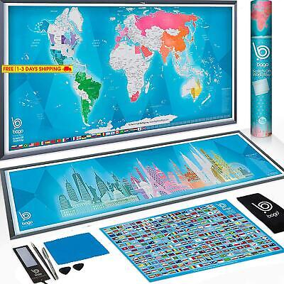 Scratch Off Map Of The World + Skyline Art - World Map Poster Travel Gifts - 36X