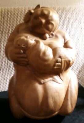 Very Old Wooden Buddha Figure Woman Mother Pregnant holding baby Estate find