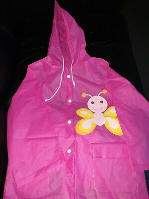 Ladybird Uk Girls Size 3 - 4 Pink Butterfly Hooded Rain Coat Jacket
