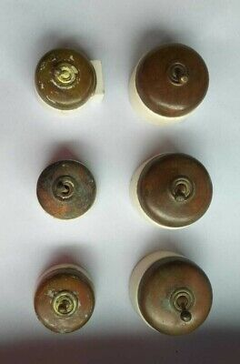 Vintage Electric Switch Brass  & Ceramic British Made Set of 6