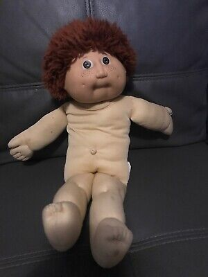 Cabbage Patch Doll Vintage 1982 Boy Brown Curly Hair And Freckles (g)