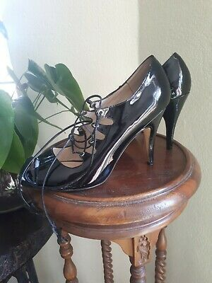 Wittner Black Patent Leather Lace Up High Heels Size 40