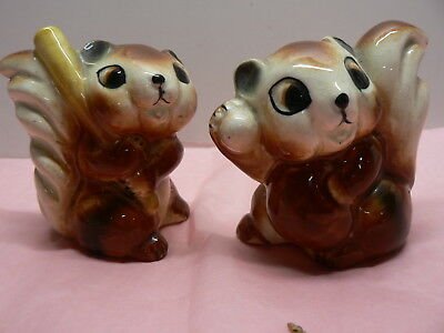 2 X Baseball Playing Chipmonks Salt And Pepper Shakers
