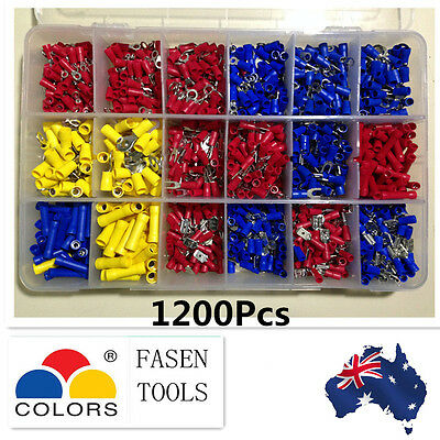 Electrical Wire Connector Insulated Crimp Terminals Spade Assorted Set 1200Pcs