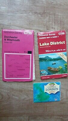 3 Old Maps. Central London, Lake district and Dorchester and Weymouth