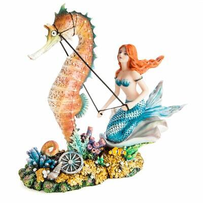Mystic Worlds Mermaid on Seahorse Chariot Statue