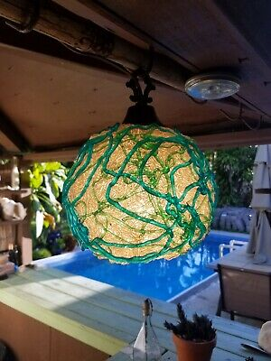 Vintage Blue Green Lucite Hanging Swag Lamp Shade • 1960's Spaghetti Spun Light