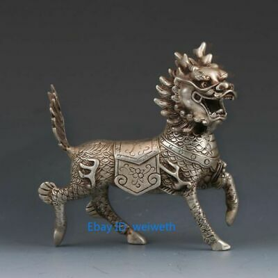 Old Chinese Tibet Silver Hand Carved Dragon Beast Kirin Statue