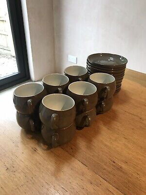 Denby Greystone Coffee Cups And Saucers Set Of 12