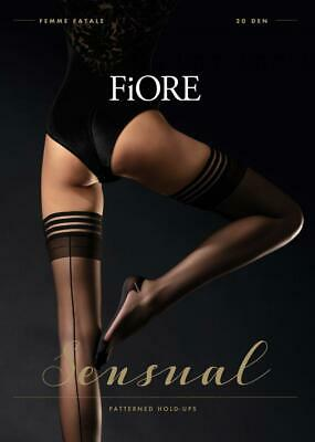 Fiore Femme Fatale Cuben Heel Backseam Stay Up Thigh High Stockings   5 Sizes