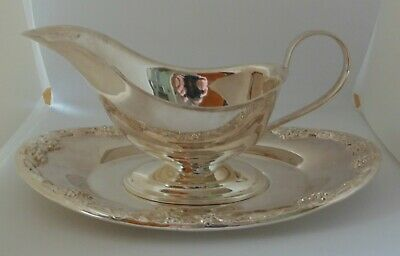 English Silver Plated Gravy Boat & Under Plate