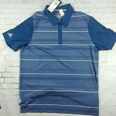 Adidas Ultimate 365 Rugby Golf Polo Shirt Navy Blue Stripe Mens Large 50 SPF $75