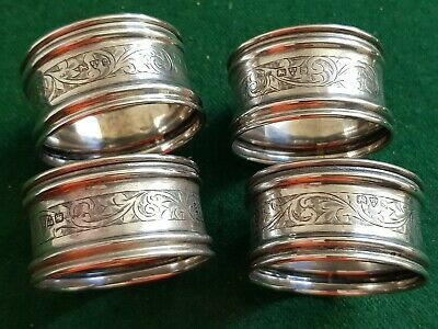 Chester 1915 solid Silver Napkin Rings x4 Engraved decoration, vacant cartouche