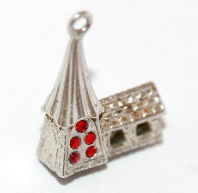 English Oast House Hop Kiln Sterling Silver Crystal Vintage Bracelet Charm